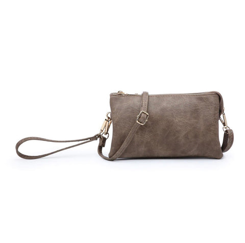 Solid Color 3 Compartment Crossbody/Wristlet