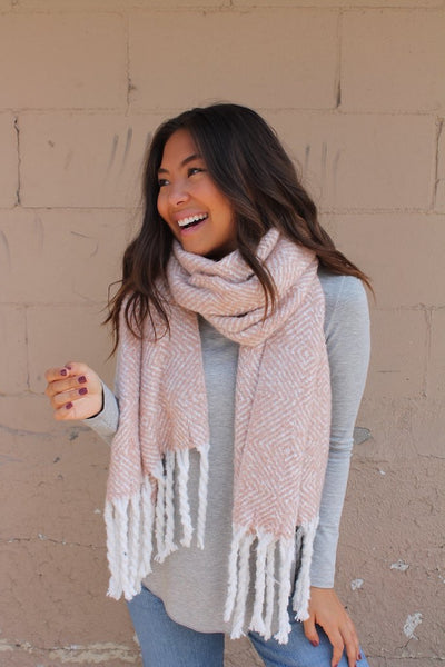 Blush & White Long Scarf