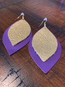 Double Layer Purple & Gold Leather Teardrop Earrings