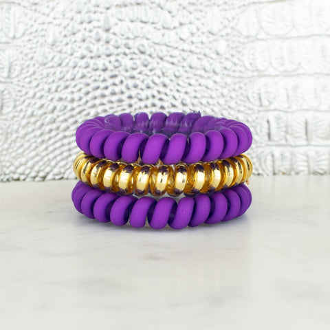 Hotline Hair Ties Purple & Gold