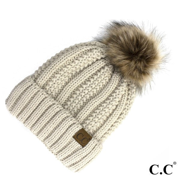 C.C Fuzzy Lined Beanie w/ Pom - Multiple Options