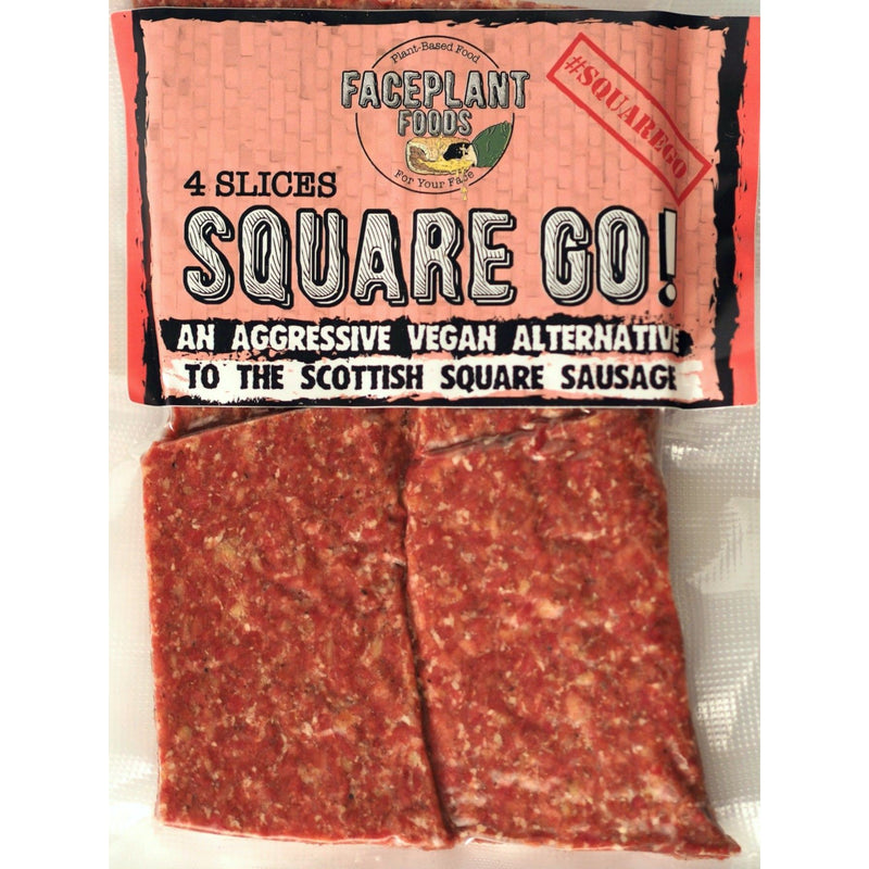 Back In Stock Friday 25th January! FacePlant Foods - Square Go - Vegan Square Sausage (228g) - TheVeganKind