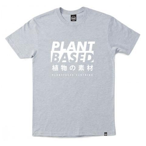PLANT FACED - Plant Based Kanji Tee - Heather Grey - 100% Organic Cotton T-Shirt - TheVeganKind