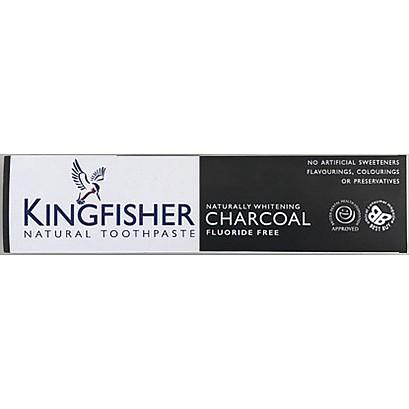 Kingfisher Natural Toothpaste - Naturally Whitening Charcoal (Flouride Free) (100ml) - TheVeganKind