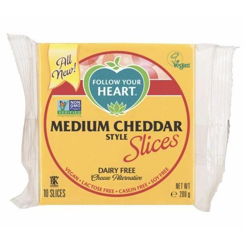 Follow Your Heart - Vegan Cheese Slices - Medium Cheddar Slices (200g) - TheVeganKind