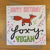 "Emily McCann - Vegan Greeting Cards - ""Happy Birthday Foxy Vegan"""