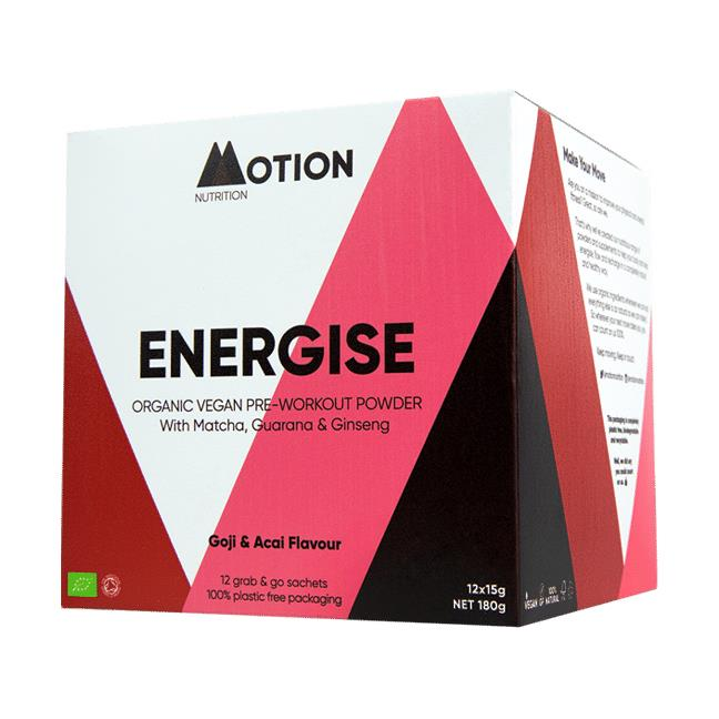 Motion Nutrition - Energise, Goji & Acai Pre-Workout Powder 12x15g (180g)