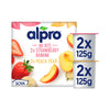 Alpro - No Bits Strawberry-Banana & Peach-Pear Yoghurt Alternative (4x125g)