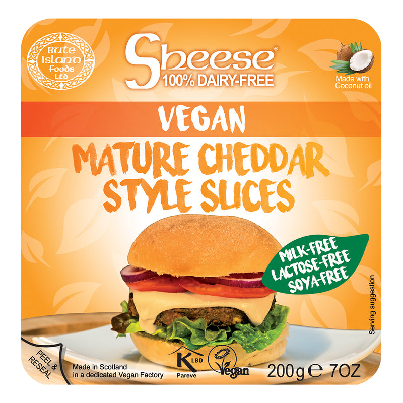 Sheese 100% Dairy Free Cheese - Mature Cheddar Flavour Sliced Vegan Cheese (200g)