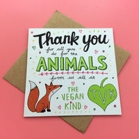 "Emily McCann - Vegan Greeting Cards - ""Thank You for All You Do for the Animals"""