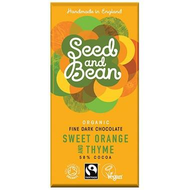 Chocolate - Seed & Bean Organic Fairtrade Sweet Orange & Thyme Fine Dark Chocolate Bar
