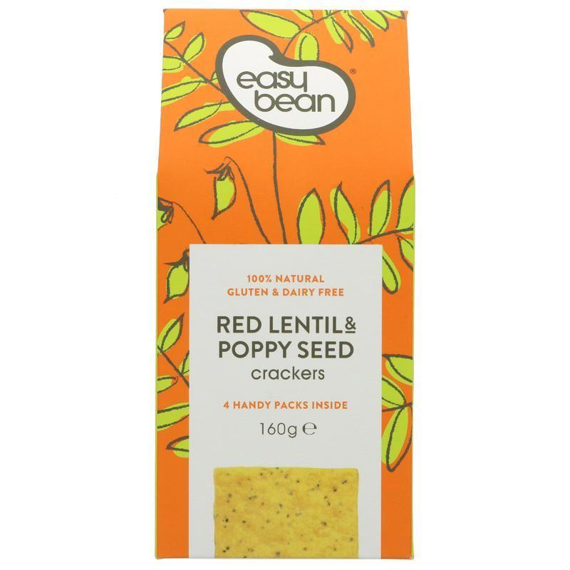 Easy Bean - Red Lentil & Poppy Seed Crackers (160g) - TheVeganKind