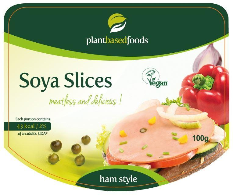 Plant Based Foods - Ham Style Soya Slices with Green Peppercorns (100g)