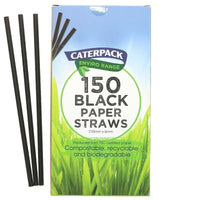 Kitchen Essentials - Caterpack - Enviro Paper Biodegradeable Straws Black (150 Pack)