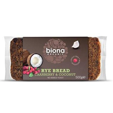 Biona Cranberry & Coconut Rye Bread (500g) - TheVeganKind
