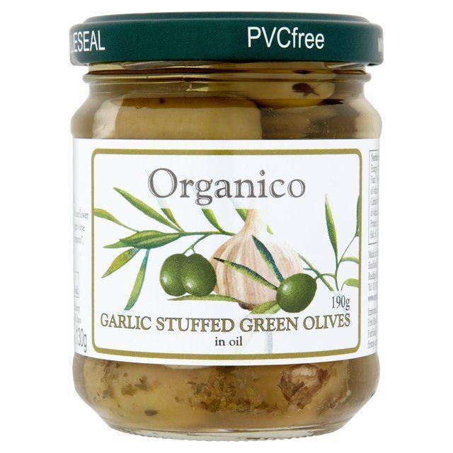 Savoury Snacking - Organico - Organic Garlic Stuffed Olives In Oil (190g)