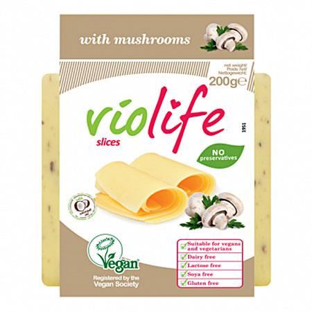 Violife Vegan Cheese Slices, with Mushroom (200g) - TheVeganKind