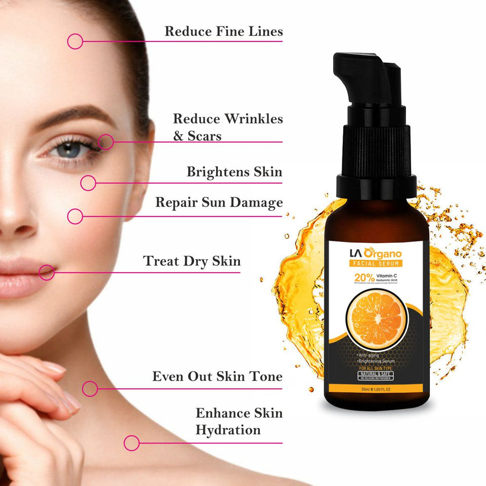 Glutathione Skin whitening Soap(100gX2) with 20% Vit C Face Glow Serum(30ml)Skin Care Combo