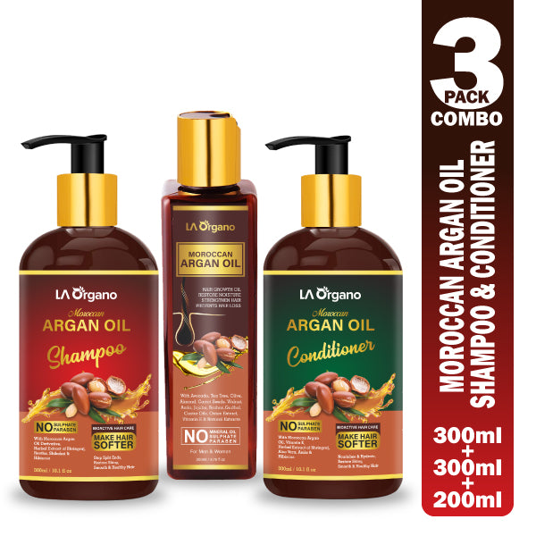 Argan Hair Oil with Shampoo & Conditioner Perfect Hair Combo For Hair Growth,Smooth & Shiny Hair (3 Items in the set)