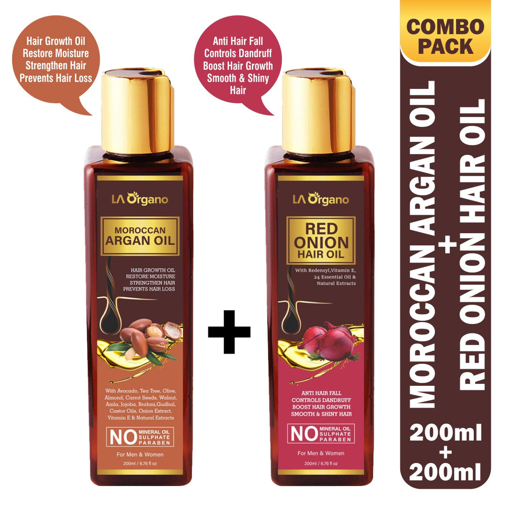 Moroccan Argan Oil & Red Onion Hair Oil 200ml Combo(Pack of 2)