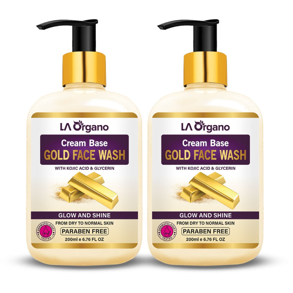 Cream Base Gold Face Wash For Dry to Normal Skin 200ml (Pack of 2)