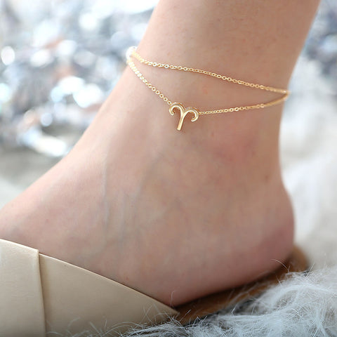 Layered Zodiac Sign Anklet