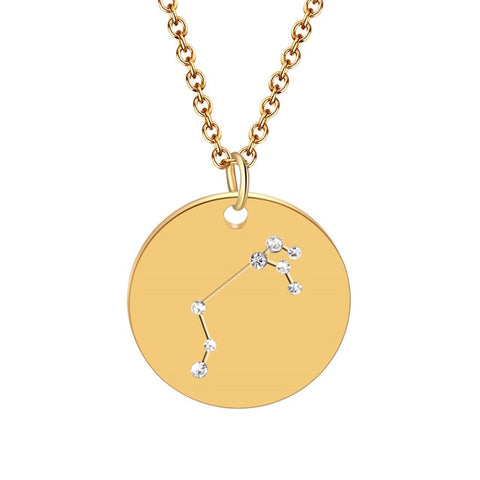 Circle Charm Zodiac Constellation Necklace