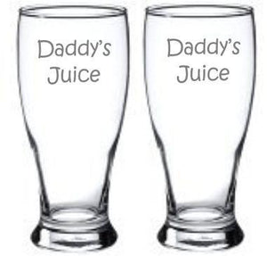 Daddys Juice Choice of Pilsner Beer Mug Pub Wine Glass Coffee Mug Rocks Water Glass Sand Carved etched sandblasted