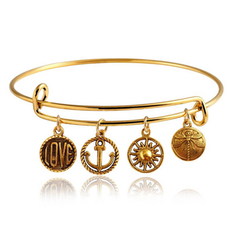 Gold Wanderlust Charm Bangle (Shipped From USA)