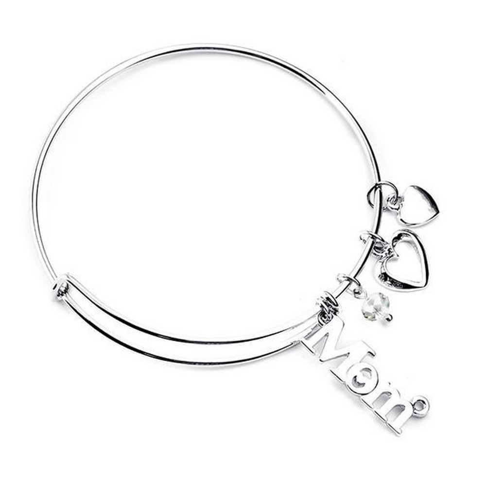 Silver Bangle : Mom love (Shipped From USA)