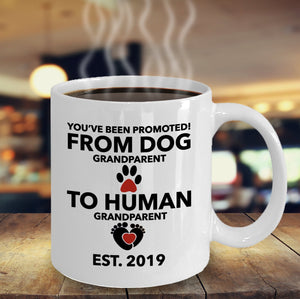 Dog Grandparent To Human Grandparent Mug Pregnancy Announcement EST 2019 Promoted to Grandparent Mug Baby Reveal Grandparents Baby