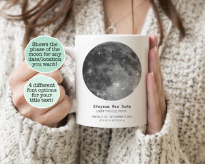 Custom moon mug custom moon phase mug custom birth moon phase anniversary gift new baby gift personalized moon phase mug new parent