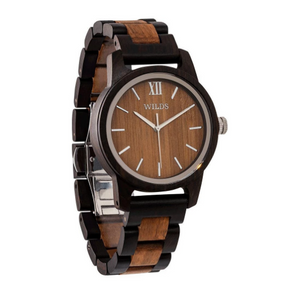 Men's Handmade Engraved Walnut Wooden Timepiece - Personal Message on the Watch
