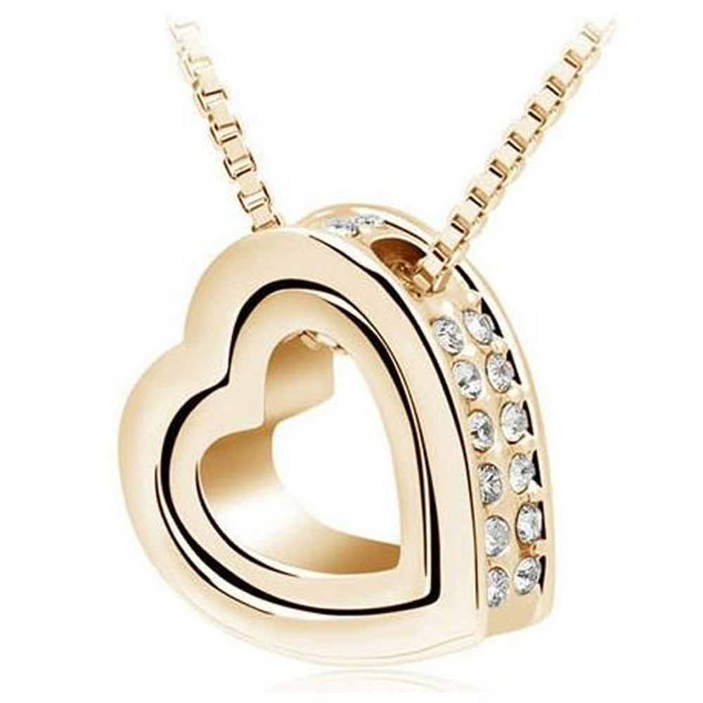 Double Heart Pendant - Yellow Gold (Shipped From USA)
