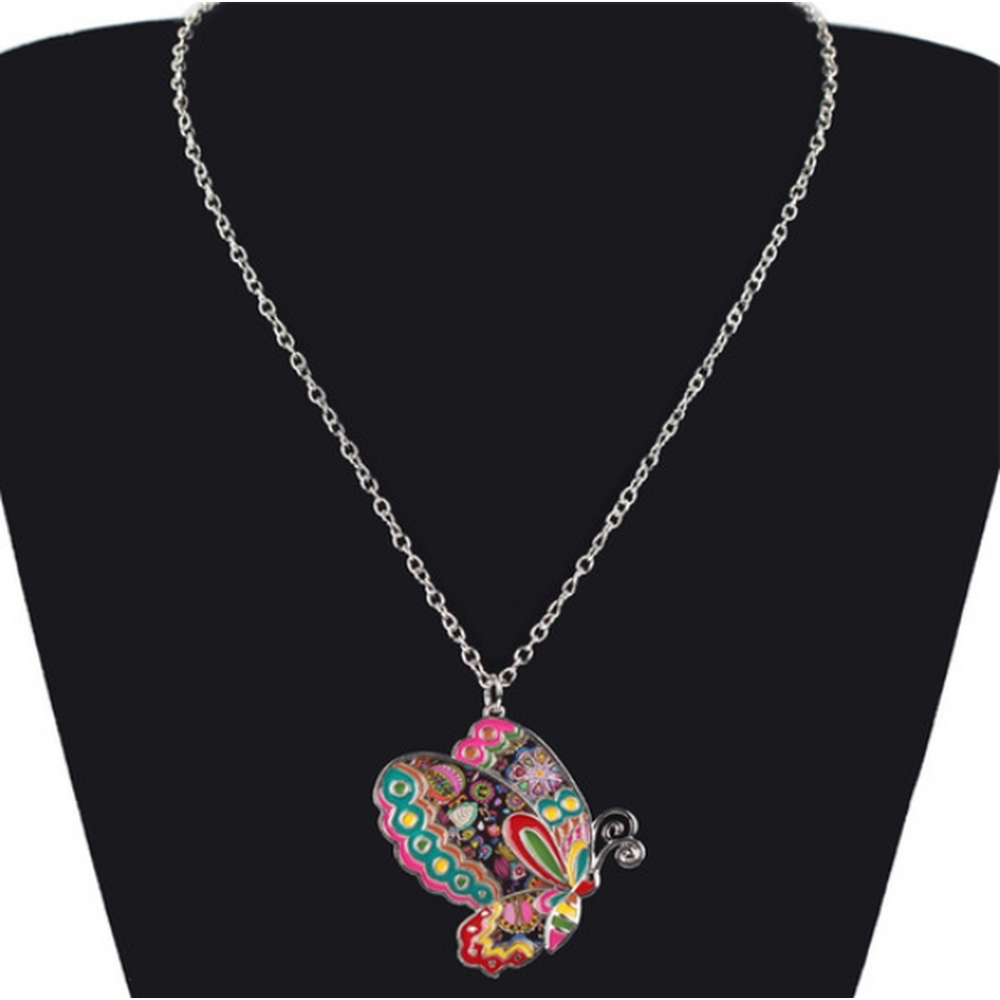 Colorful Butterfly Pendant Necklace (Shipped From USA)