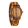 Men's Handmade Engraved Zebra Wooden Timepiece - Personal Message on the Watch