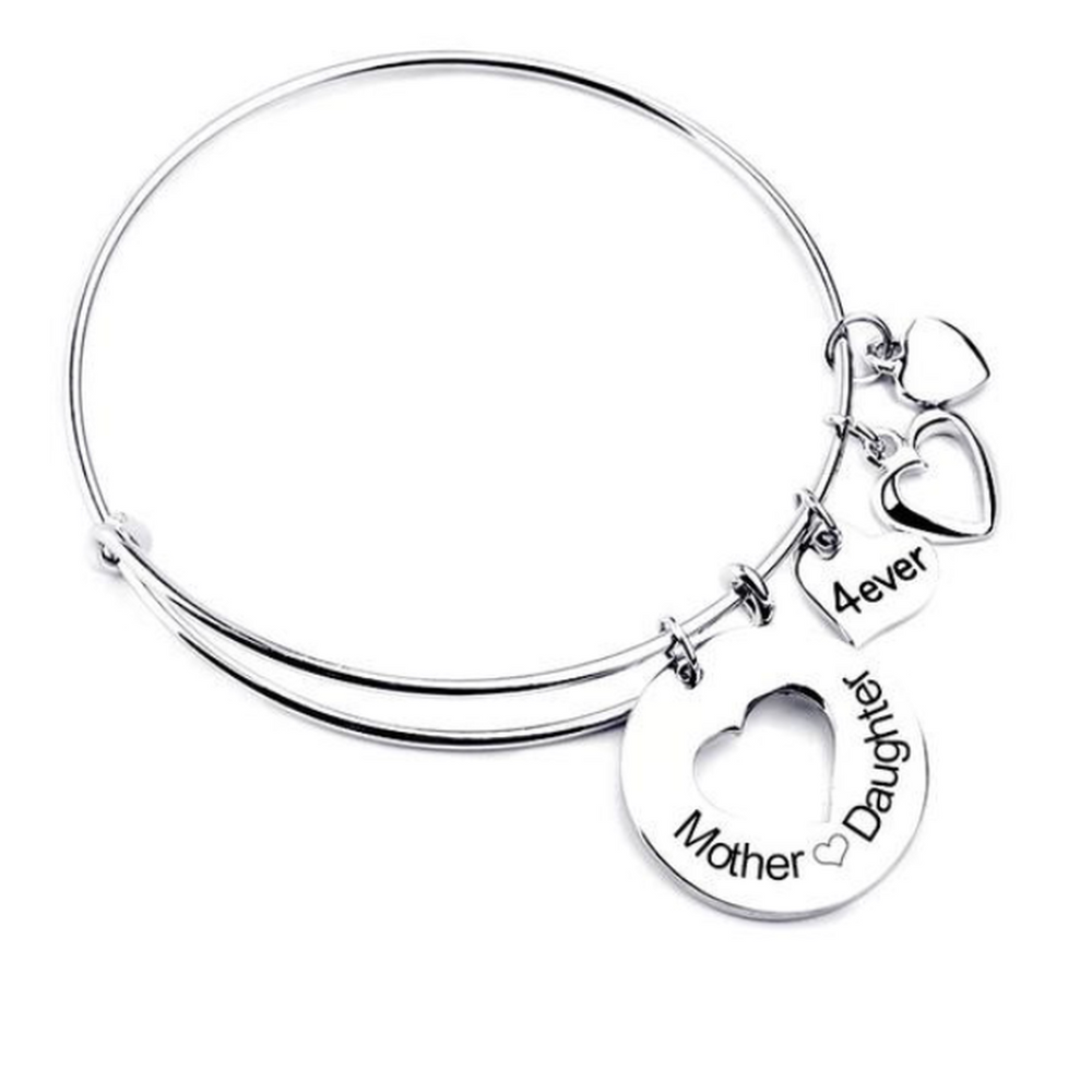 Mother Daughter Love Charm Bangle (Shipped From USA)