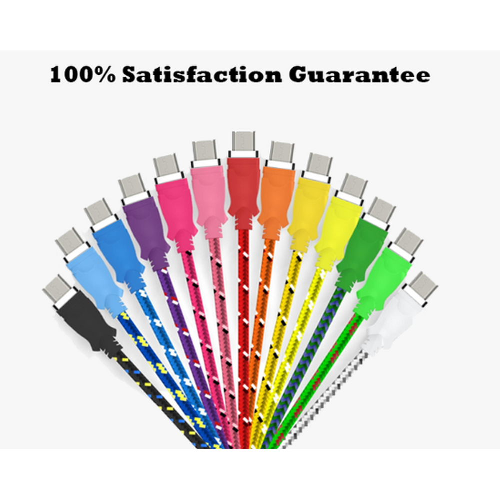 Extra Long (10 Ft) Fiber Cloth Sync & Charge USB Android Cable - Assorted Colors (Shipped From USA)