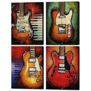 Classic Guitars Four Piece Canvas Print .75in Frame Housewares Black / 8 x 12