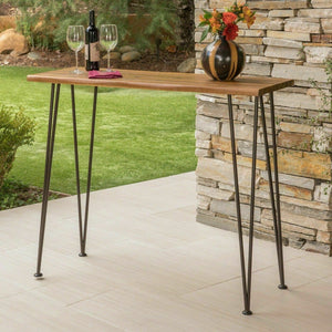 Avy Outdoor Rustic Industrial Acacia Wood Bar Table with Metal Hairpin Legs, Tea