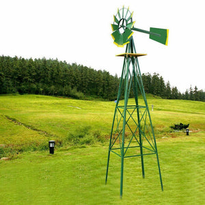 Garden Windmill Yard Wind Spinner 8Ft Outdoor Pinwheel Decoration Weather Mill