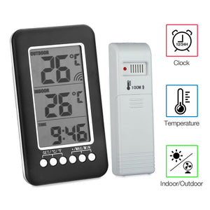 Digital LCD Indoor Outdoor Thermometer Clock Wireless Temperature Meter Monitor