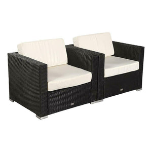 2Pc Outdoor Armchair Poly Rattan Wicker Black Sofa Chair Garden Furniture Set US