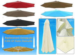 10ft 8-Rib Patio Umbrella Cover Canopy Replacement Top Outdoor
