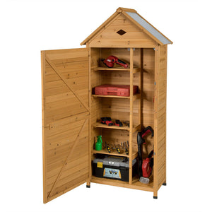 Outdoor Storage Shed Lockable Wooden Garden Tool Storage Cabinet W/ Shelves