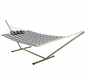 Castaway Hammocks Quilted Hammock Combo- Small Stand & Pillow, Buffalo Plaid