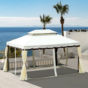 Outsunny 10'x13' Patio Deck Gazebo w/ Polyester Curtains & Netted Screens