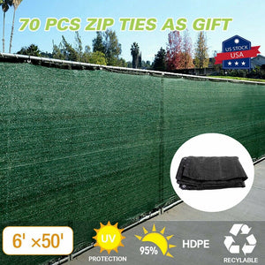 6'x50' Fence Windscreen Privacy Screen Shade Cover Fabric Mesh Garden Tarp