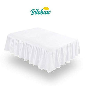White Crib Skirt Pleated with Lovely Pompoms, Bedding Dust Ruffle for Baby Gi...