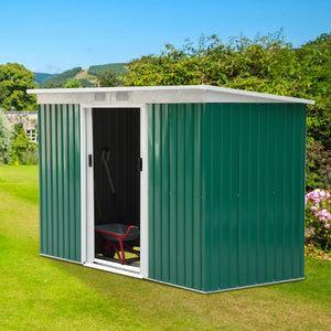 9'x4' Outdoor Garden Storage Shed Steel Garage Tool Utility House Backyard Lawn